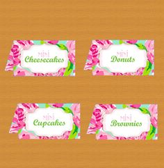 Food tent cards  Printable Lilly Pulitzer by DestinationInvite