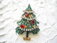 Vintage Christmas Tree Pin Brooch Multi Colored by FindCharlotte