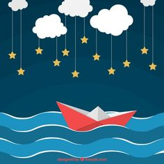Fantastic background of paper boat and clouds with stars , Kids Canvas Art, Cute Canvas Paintings, Indian Art Paintings, Small Canvas, Easy Paintings, Vintage Flowers Wallpaper, Flower Wallpaper, Art N Craft, Diy Art