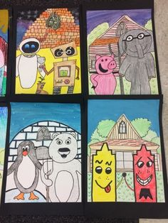 "grade artists had fun learning about the artwork by Grant Wood, ""American Gothic."" We also watched the video, ""Dropping in on Grant Wood. Grant Wood, Class Art Projects, Kids Art Class, Art Sub Plans, Art Lesson Plans, American Gothic Parody, 2nd Grade Art, Jr Art, Art Lessons Elementary"