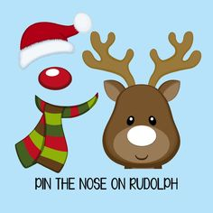 "Instant Download. ""Pin the NOSE on RUDOLPH"" game set for a Holiday Party, Christmas party, School party, Toddler party! 16x20 by thelittlebluebarn on Etsy https://www.etsy.com/listing/254837594/instant-download-pin-the-nose-on-rudolph"