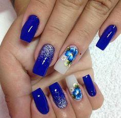 Check it out. Aycrlic Nails, Blue Nails, Blue Nail Designs, Nails Only, Gel Nail Colors, Glitter Nail Art, Fancy Nails, Beautiful Nail Art, Nail Inspo