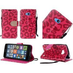 Insten Leopard Leather Case Cover Lanyard with Stand/ Wallet Flap Pouch/ Diamond For Microsoft Lumia 640