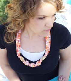 Nursing Teething Necklace- 100% cotton fabric covered natural wooden beads-  Orange & Purple