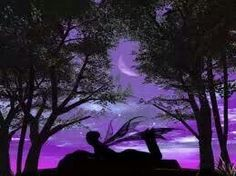 Purple skies and a fairy