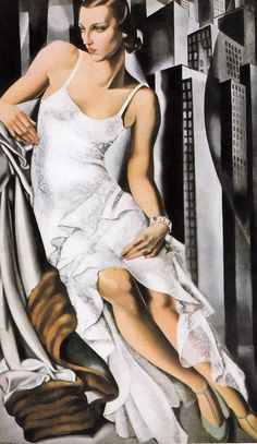 """Skot Foreman Gallery Tamara Lempicka """"Lady in Lace"""" 1972 Hand-signed lithograph 26 x 15 in 66 x 38 cm Limited-edition of 300 Hand-signed in pencil lower right margin Art Deco Artists, Art Deco Paintings, Modern Artists, Art Deco Illustration, Art Deco Stil, Art Deco Era, Pinturas Art Deco, Tamara Lempicka, Estilo Art Deco"""