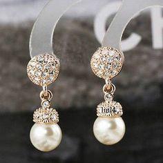 18K Rose Gold Plating Crystal Shells Pearl Drop Stud Earring in Jewelry & Watches, Fashion Jewelry, Earrings   eBay