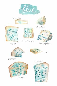 The Blues, blue cheeses kitchen decor print