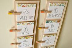 Morgenroutine mit Kindern: DIY Checkliste für mehr Selbstständigkeit - Nestling Daily Routine Chart For Kids, Morning Routine Chart, Charts For Kids, Night Routine, Daily Routines, Daily Schedules, Kids Schedule, School Schedule, Printable Reward Charts