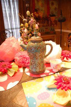 paper roses, tea pots, and tulle tutu i made