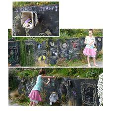 chalkboard paint! instant outdoor art wall!