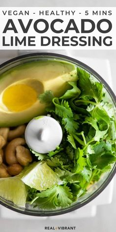This avocado lime dressing is creamy, delicious, packed with flavor, and only takes a few minutes to make brings any salad and bowl to life! Vinaigrette, Avocado Lime Dressing, A Food, Food And Drink, Vegetarian Recipes, Healthy Recipes, Salad Recipes, Vegan Sauces, Whole Food Recipes