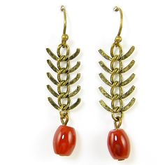 Carnelian Earrings Antique Brass Fishbone Earrings Chain Dangle... (1.085 RUB) ❤ liked on Polyvore featuring jewelry, earrings, antique brass earrings, antique brass jewelry, chain earrings, carnelian jewelry and dangling jewelry