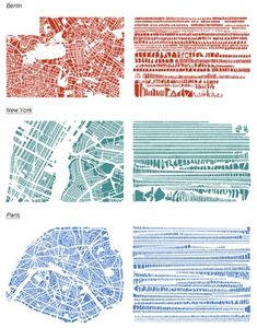 Cities have amazing varieties of block shapes and sizes that give place a distinct character. The artist from Things Organized Neatly highlights these patterns by deconstructing street maps into piles of city blocks organized by size. Architecture Mapping, Architecture Graphics, Landscape Architecture, Revit Architecture, Landscape Concept, Concept Architecture, Map Diagram, Planer Layout, Things Organized Neatly