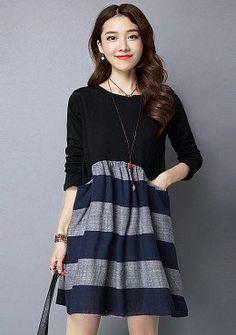 Buy Round Neck Stripe Smock Dress | mysallyfashion.com Malaysia