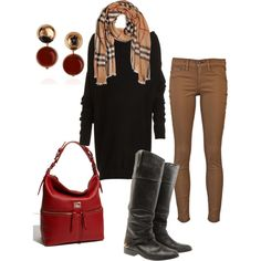 Wow...love these colors of autumn leaves! Cool long black sweater, brown skinnies, black boots, red bag & Burberry scarf...,<3 entire look!
