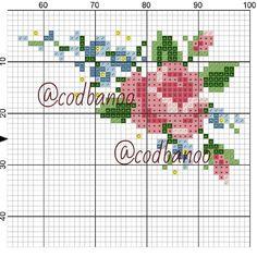 Beaded Flowers Patterns, Crochet Flowers, Cross Stitch Designs, Cross Stitch Patterns, Chicken Scratch, Cross Stitch Rose, Rose Bouquet, Cross Stitching, Hand Embroidery