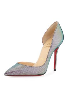 Christian Louboutin Iridescent Silver  Pump with a Red Sole NMS16_X2SQ4