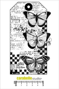 Tampon : Tag : 3 Papillons - Cling Stamp Papillon CARABELLE STUDIO