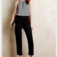 Anthropologie Elevenses Priya Jumpsuit Size M Super comfortable jumpsuit from Anthro. Polyester, rayon, spandex knit. Side pockets. Grey top/black bottom. Size M. Anthropologie Pants Jumpsuits & Rompers
