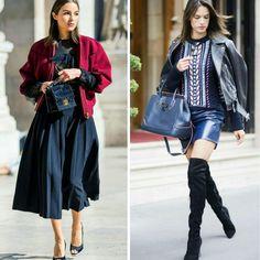 Duas boas combinações para dias mais frios, de Paris!🌂🌫️✨ 1.Olivia Culpo veste jaqueta bomber vinho, blusa de magas compridas e saia midi, escuras + sandália alta e bolsinha.  2.Alessandra Ambrósio veste jaqueta de couro escura, blusa de crochê colorida, saia de couro azul + bolsa e botas over the knee, escuras. #oliviaculpo #alessandraambrosio #fashion #inspirations #fallwinter