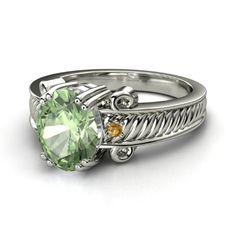 Oval Green Amethyst 14K White Gold Ring with Citrine - Cassandra Ring   Gemvara