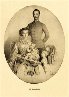 """Die Kaiserfamilie"". Elisabeth & Franz Joseph I of Austria. Estimations: Dated 1856-1857. Children: Gisela & Sophie."