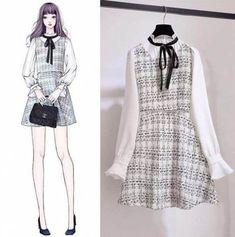 Korean Fashion – How to Dress up Korean Style – Designer Fashion Tips Asian Fashion, Look Fashion, Girl Fashion, Womens Fashion, Kawaii Fashion, Fashion Drawing Dresses, Fashion Dresses, Mode Kawaii, Dress Sketches
