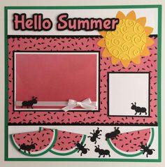 Premade 12x12 Summer Hello Summer scrapbook page  1 - 4 1/4 x 6 1/4 photo mat  Your 4 x 6 photo slide under the ribbon.  Special Features: Ribbon, Layered & 3D  All items come from a smoke - free home! Thanks for looking! :)