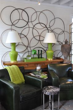 Green #Spitzmiller #lamps and #leather #armchairs at #Southampton #Mecox #interiordesign #Hamptons #MecoxGardens #furniture #shopping #home #decor #design #room #designidea #vintage #antiques #garden