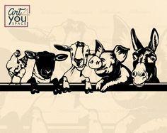 Media Mix, Sheep Pig, Farm Logo, Sign Design, Badge Design, Farm Animals, Funny Animals, Svg Files For Cricut, Clipart