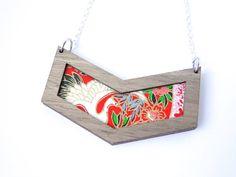 Japanese Crane Necklace Geometric Chevron Necklace by PrettyKiku, $29.00
