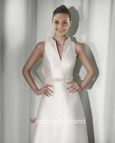 Beautiful A-Line High-neck Floor-Length Beaded Chapel Wedding Dress - Cheap Wedding Dresses Wholesale and Retail Online