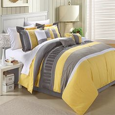 5f784b5687e Transform your bedroom decor with the Euphoria Yellow Grey Embroidered 8  Piece King Size Comforter Set. Specifications  • Size