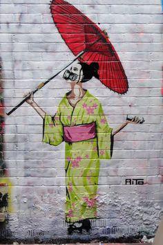 Aito in Portobello Road Graffiti Art, Murals Street Art, Geisha, Amazing Street Art, Amazing Art, Banksy, Francis Picabia, Sidewalk Art, Outdoor Art
