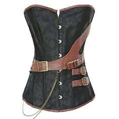 Women's Black Brocade Steampunk Boned Corset with Leather Strap – USD $ 23.39
