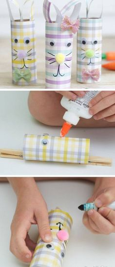 Scrapbook Paper and Toilet Paper Roll Easter Rabbits   Click Pic for 25 Easy Easter Crafts for Kids to Make   Easy Easter Craft Ideas for Toddlers to Make