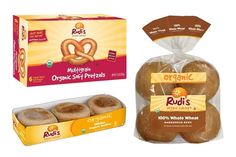 Made in a dairy-free and peanut-free facility, Rudi's Organic Bakery rolls, tortillas, English muffins, soft pretzels and more are free of additives.
