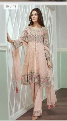 Beutifull chiffon dress by jazmin in baby pink color Model # C 1221 – Nameera by Farooq Pakistani Fashion Party Wear, Latest Pakistani Fashion, Pakistani Formal Dresses, Pakistani Dress Design, Pakistani Outfits, Indian Outfits, Indian Fashion, Boho Fashion, Fashion Dresses