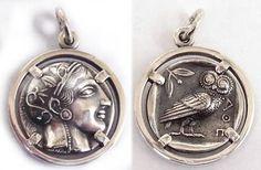 Athena greek goddess coin pendant. joyería griego, joyas de plata antigua, colgante de moneda, la diosa griega de la sabiduría Atenea.
