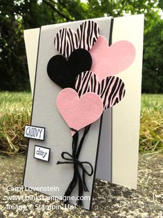 Groovy Love – Heart Balloons (June Class 4 of 5); All the Balloons are heat embossed for a glossy look.  Designed by Carol Lovenstein  www.pinkstampagne.com;  Stampin' Up! Card Idea