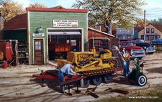 An old Caterpillar bulldozer is getting repaired at the local welding shop in Ken Zylla's Dozer print. Antique Tractors, Old Tractors, Antique Cars, Lawn Tractors, Caterpillar Bulldozer, Caterpillar Equipment, Old Farm Equipment, Heavy Equipment, Pictures To Paint