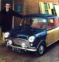 Peter Sellers with his mini cooper. This little beauty is now worth a mint!