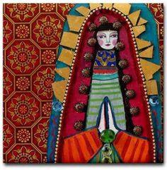 8x8 Virgin of Guadalupe Art Tile Coaster Ceramic Mexican Folk Art Angel