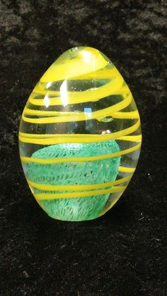 Vintage Egg Paperweight Art Glass Yellow Swirl Blue Green Spongy Center Bubbles | eBay