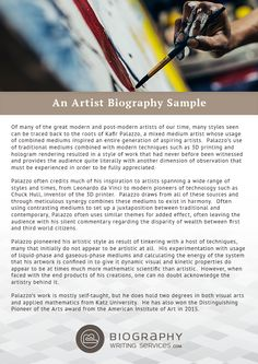 How to Write an Appealing Artist Biography