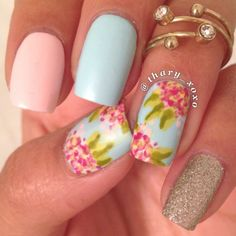 thary_xoxo's pink & auqua floral nail art using mrcandiipants technique lovely! #fav