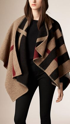 Burberry House Check/Black Check Wool and Cashmere Blanket Poncho - A reversible blanket poncho crafted in Scotland from wool and cashmere. Inspired by traditional equestrian blankets, the design is jacquard-woven with a check pattern. Discover the scarves collection at Burberry.com