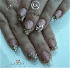 Luminous Nails: Clear Translucent Nails with Shimmering Gold Glitt...