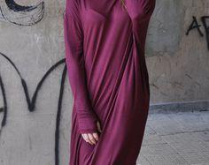 Abaya maxi dress / Plus size Extravagant Burgundy Long Dress / MARSALA Maxi Dress by EUGfashion
